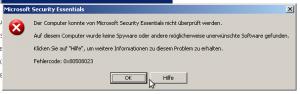 Der Computer konnte von Microsoft Security Essentials nicht überprüft werden. Auf diesem computer wurde keine Spyware oder andere möglicherweise unerwünschte Software gefunden. Klicken Sie auf Hifle um weitere Informationen zu diesem Problem zu erhalten. Fehlercode 0x80508023